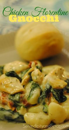 The absolute BEST 30 minute meal ever! Healthy, delicious, and better than takeout! This Chicken Florentine Gnocchi recipe is now a family favorite! ~ http://serendipityandspice.com
