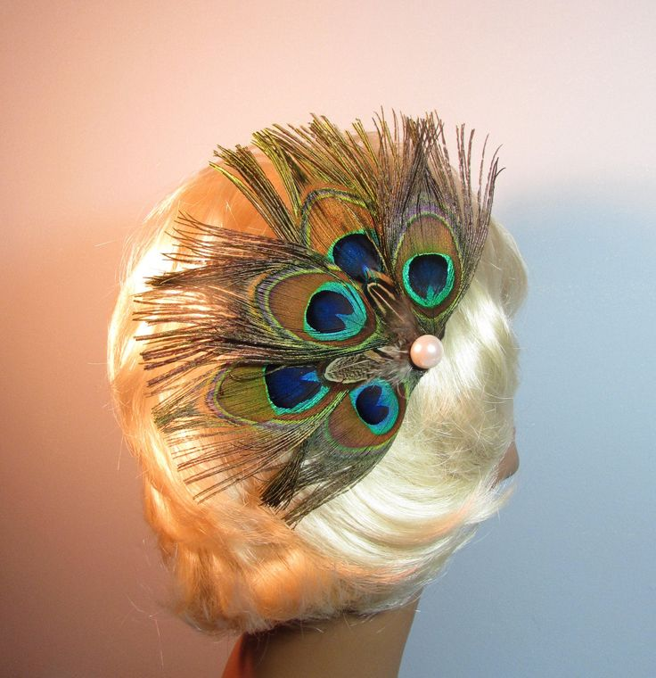 Peacock Feather Hair Clip with Pearl Focal Point, Real Feather Hair Clip by EarthLites on Etsy