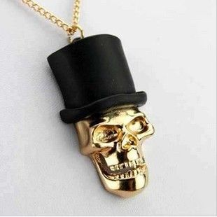 skull with tophat necklace pendant great for diy phone bling | chriszcoolstuff - Craft Supplies on ArtFire