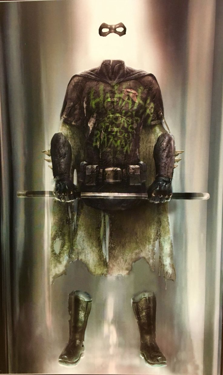 Concept art of the on-display Robin armor covered in graffiti from Batman v Superman: Dawn of Justice (2016). Costume design by Michael Wilkinson.