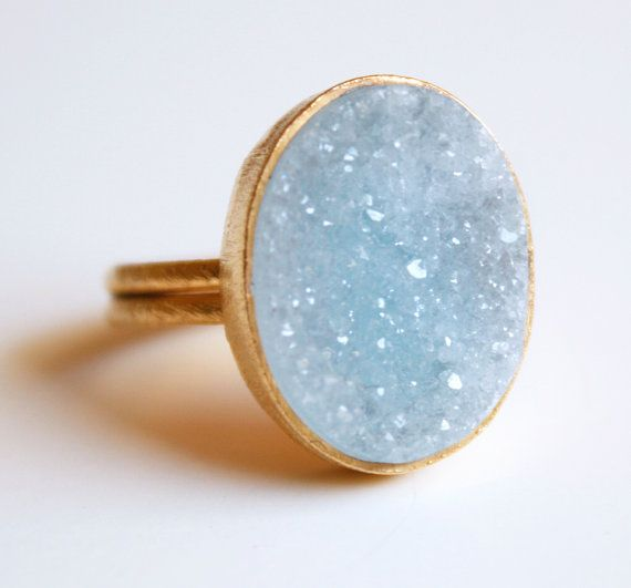 This is a beautiful blue agate druzy ring!  I love the organic nature of drusy!