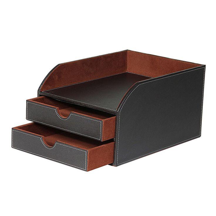 Faux Leather Desktop 2 Tier Sorter With, Black Leather Desk Letter Tray