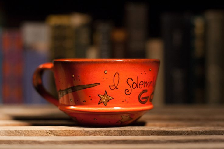 "The Marauder's Mug - Harry Potter ""I solemnly swear that I am up to no good"" Weasley orange, rustic teacup mug - Hand Painted"