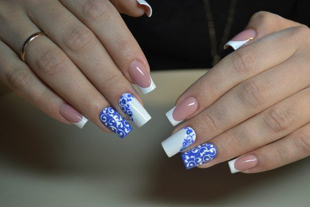 Casual nails, Festive nails, French 2016, French with pattern, New Year French 2016, Painting on french, Two-color french, White french 2016