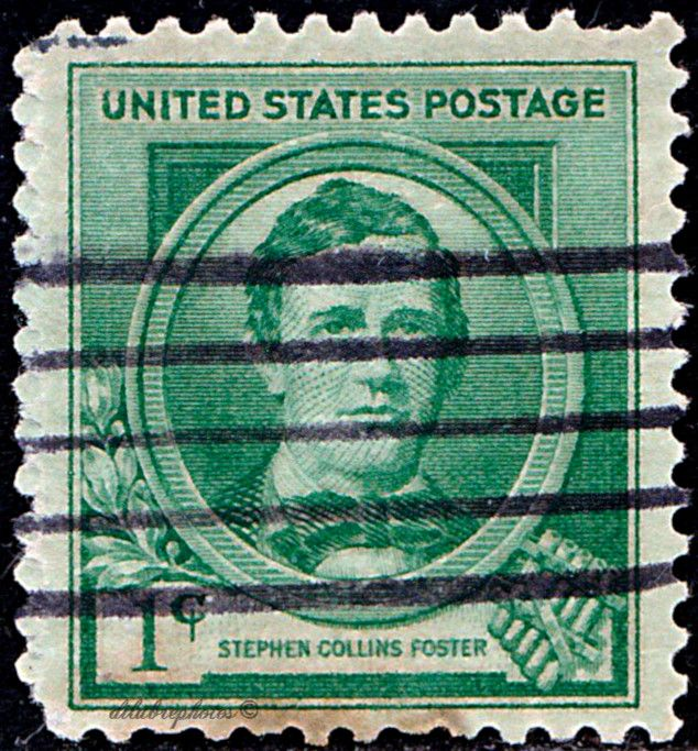 USA.  Famous American Issues.  Composers.  Stephen Collins Foster.  Scott 879 A338, Issued 1940,  Perf. 10 1/2x11, 2c. /ldb.