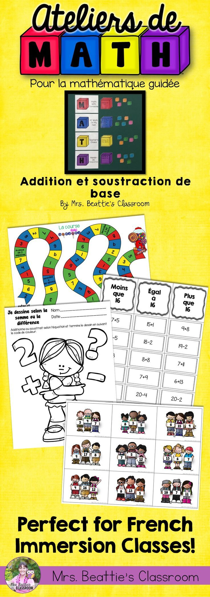 Using a Guided Math or Daily 5 Math approach in your classroom? This French Basic Addition and Subtraction resource from Mrs. Beattie's Classroom is for you! Just the right number of activities for a month of rotations! #guidedmath #enfrancais #french #mathcenters