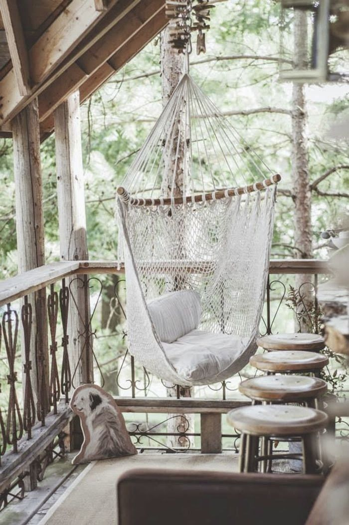 Rustic Coastal Porch Retreat With A Heavenly White Hammock Chair !