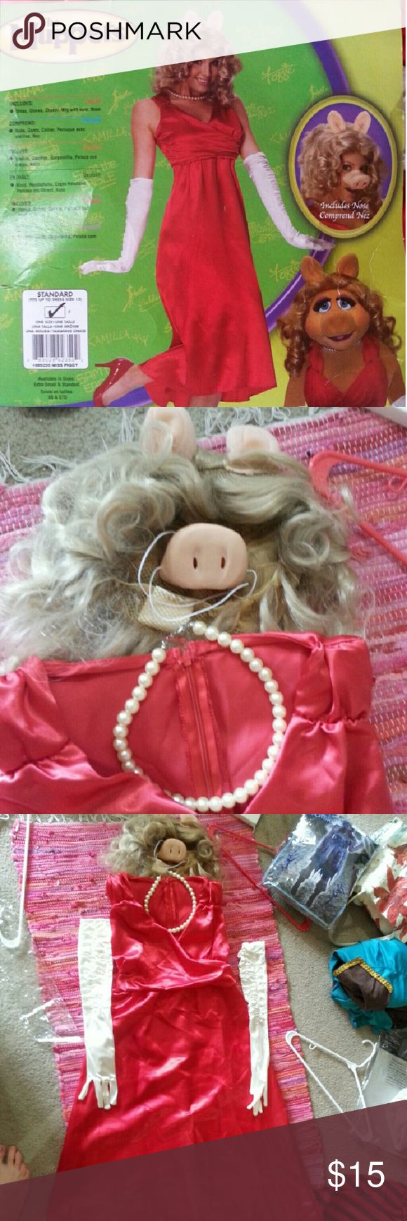 Miss Piggy Halloween Costume Miss Piggy Halloween costume. One size, fits between a 6-12. Comes with wig, gloves, faux pearl necklace, and piggy nose. Worn one, a super cute costume! Other