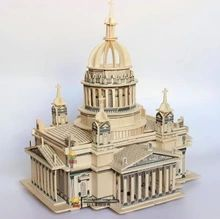 Jigsaw puzzle toy wooden model building 3 d adult assemble wood blocks house cathedral(China (Mainland))