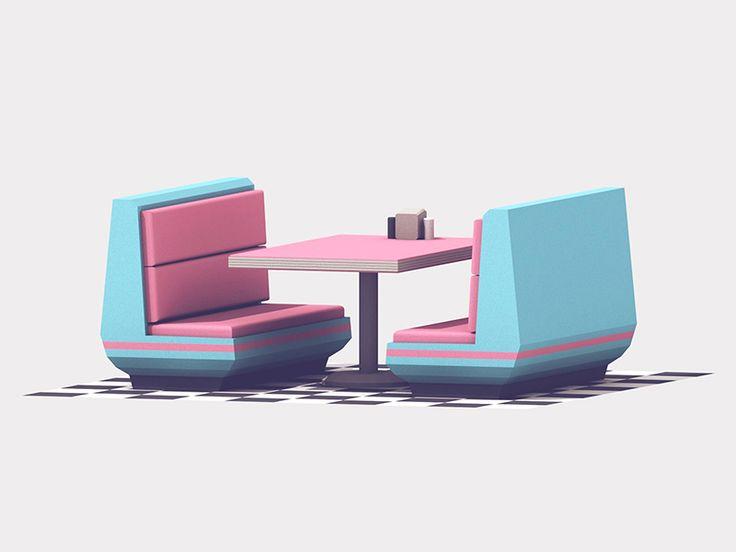 Retro Diner Table by Timothy J. Reynolds #Design Popular #Dribbble #shots