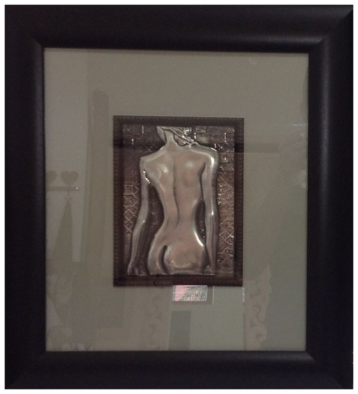 Framed nudes special order by Yvonne Botha, Pewter Me Blue