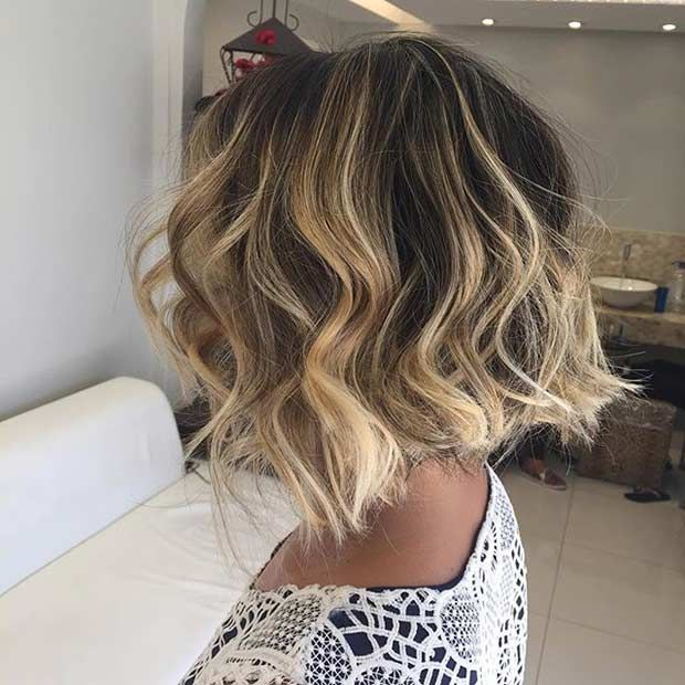 Honey Blonde Balayage Highlights for Dark, Short Hair