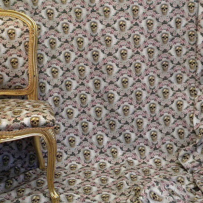 Golden Skulls Fabric
