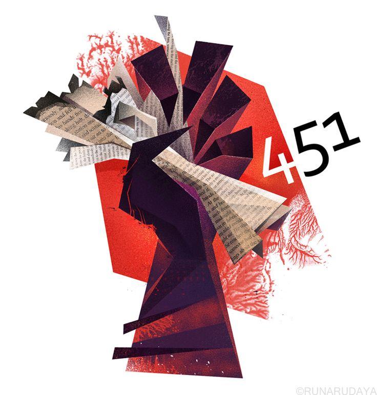 "Fahrenheit 451, novel by Ray Bradbury, tells the story of ""The terrible tyranny of the majority"" in a futuristic world where fireman's job is to burn outlawed books.  Runaillustration.com #Ray #Bradbury #Fahrenheit #451 #illustration"