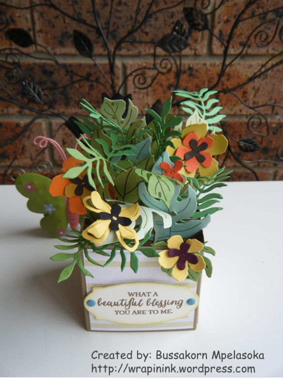 Card in a box, Stampin' Up! Botanical Blooms, Botanical Builder framelits dies