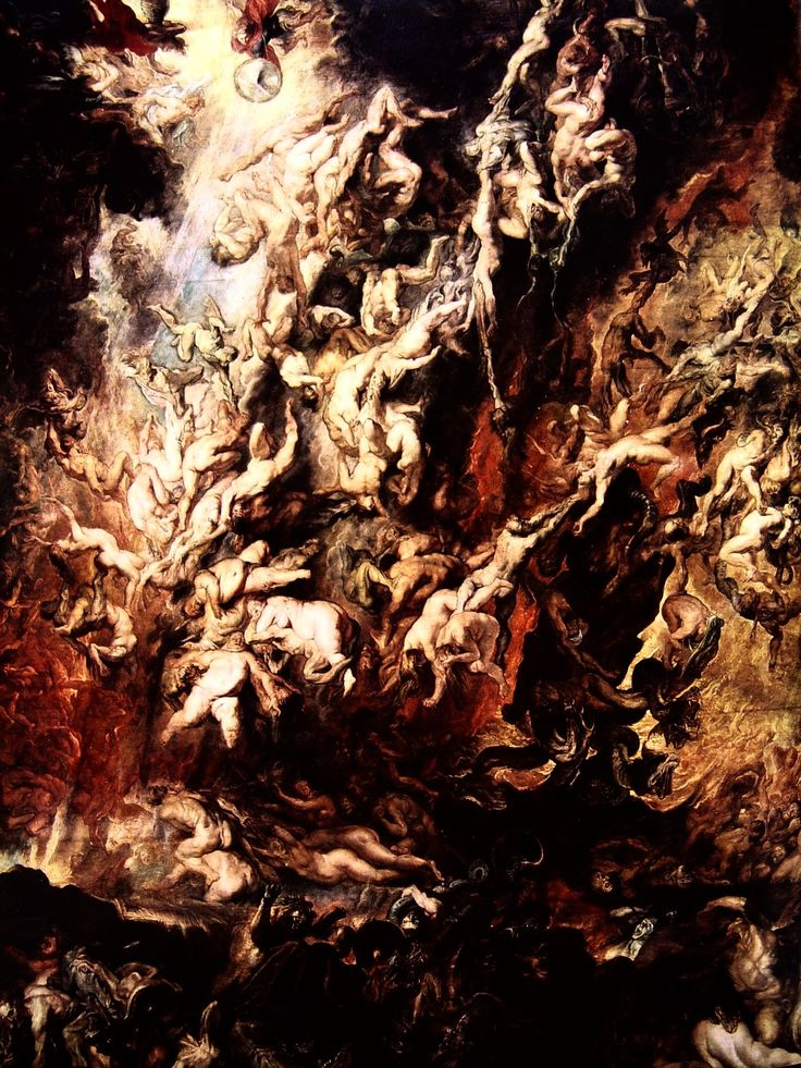 Peter Paul Rubens, Fall of the Damned, ca. 1620.  The Fall of the Damned, conversely known as The Fall of the Rebel Angels is a monumental religious painting by Peter Paul Rubens. It features a jumble of the bodies of the damned, hurled into abyss by archangel Michael and accompanying angels. The most fascinating aspect of this painting is the almost abstract way in which the bodies seem to be interwined and the fact that Jesus is not present here.