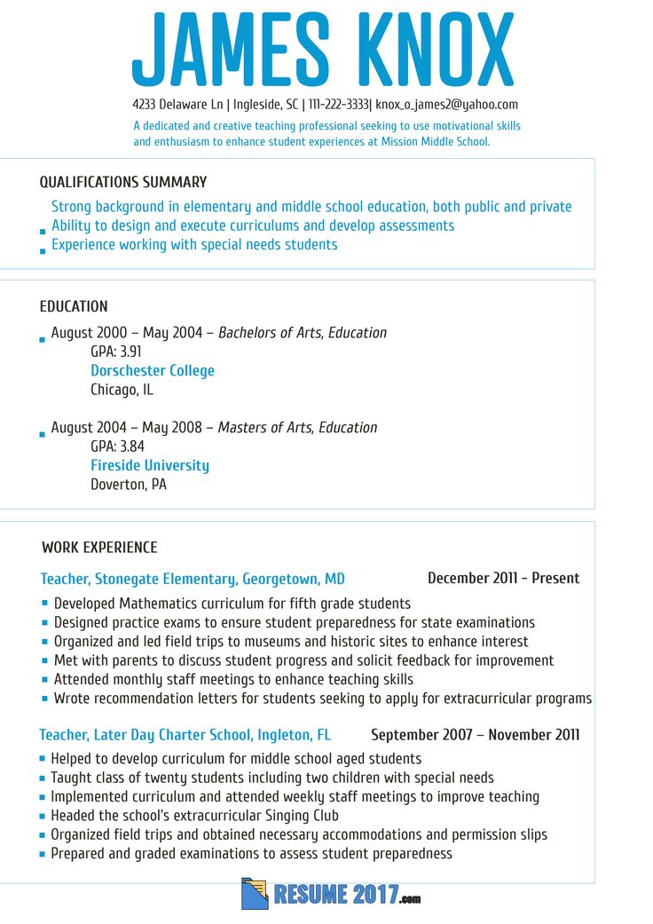 Más de 25 ideas increíbles sobre Format of resume en Pinterest - great teacher resumes