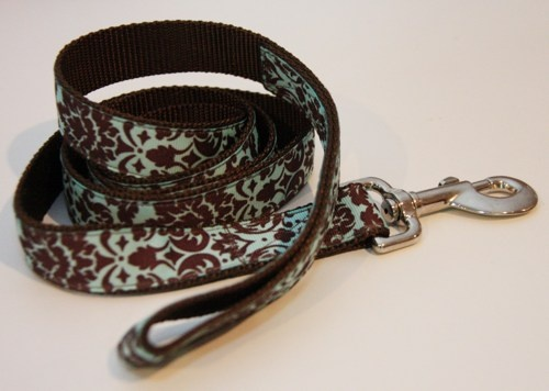 """Pretty Blue and Brown Damask 1"""" Dog Leash, $18.00. Find Bonzai Gifts on facebook for more!"""