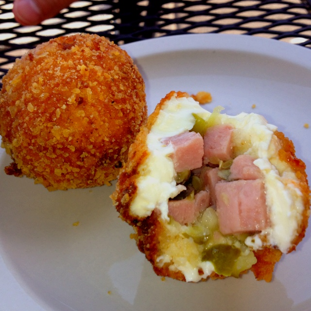 Picture of spam bites at the Blue Door pub in st. Paul. Made up of lots of cream cheese, spam, and pickles then deep fried. We tried them last week and they were sooo good. Very filling though.