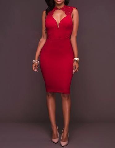 Cut Out Plunge Lace Shoulder Sleeveless Bodycon Midi Party Dress
