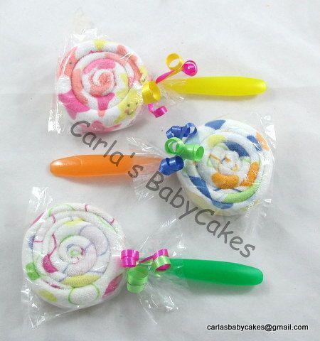 Double Washcloth Lollipops Baby Shower Favor by MsCarlasBabyCakes, $3.00