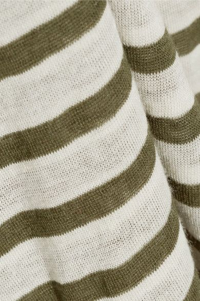 T by Alexander Wang - Striped Jersey Top - Army green - small