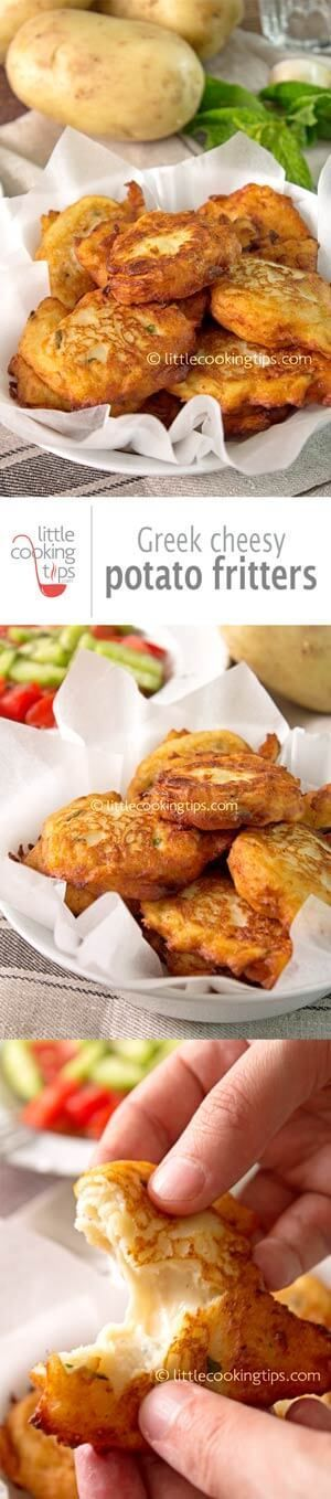 Easy Greek style potato fritters. A simple recipe to make some of the most delicious, cheesy potato fritters out there! Perfect as an appetizer or even a main dish some tzatziki and Greek horiatiki salad on the side. #appetizers #potato #fritters #vegetarian #starters