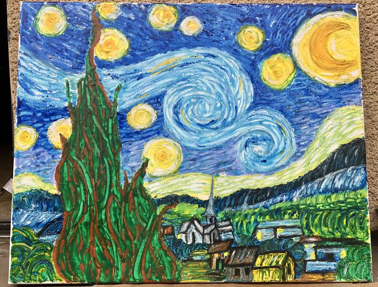 Starry Night painted with melted crayons!