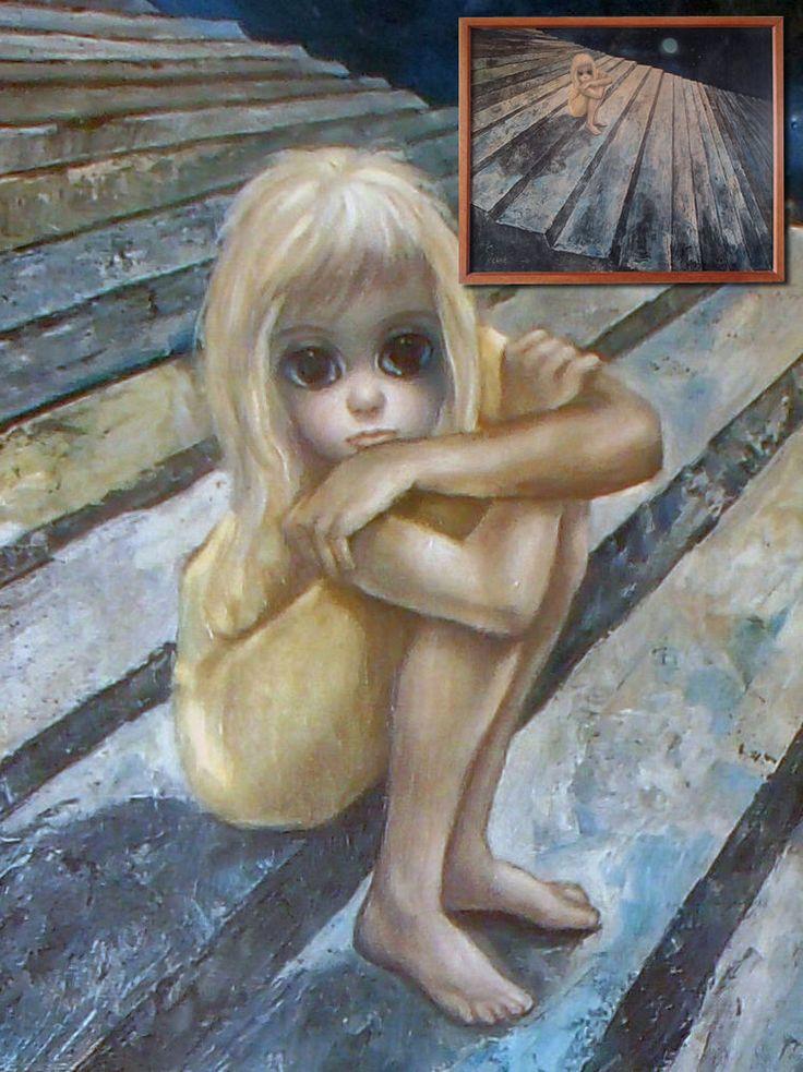 Rare large vintage Keane big eyes artwork 'Alone' in original frame