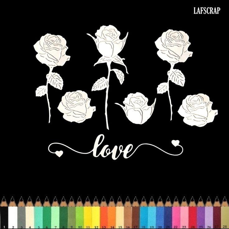 lot découpes scrapbooking scrap  fleur rose mot love amour coeur