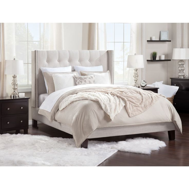 Atlantic Furniture Hadleigh Upholstered Bed Queen Size (Color), Beige