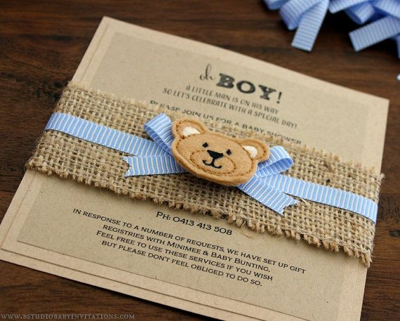 Rustic Teddy Bear Baby Shower Invitation Handmade With Kraft Card And Hessian My Pinterest