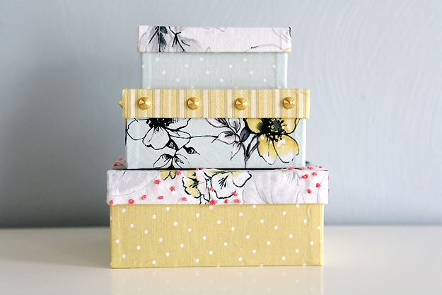 12 Home Decor Mod Podge Projects • Lots of tutorials, including these DIY fabric covered boxes by 'Caught on a Whim'!