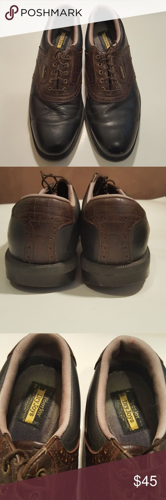 Pre-owned FootJoy Men's Golf Shoes Blk/Brn sz 10.5 Pre-owned in good condition FootJoy Men's Golf Shoes Blk/Brn saddles sz 10.5. There are scrapes on the toe area. These are DryJoys. FootJoy Shoes Athletic Shoes