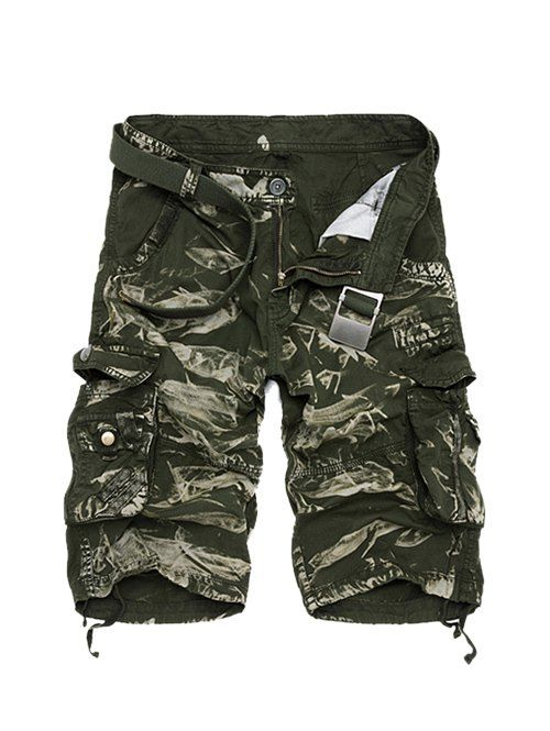 Zipper Fly Camouflage Cotton Blends Multi-Pockets Straight Leg Cargo Shorts For Men #men, #hats, #watches, #belts, #fashion, #style
