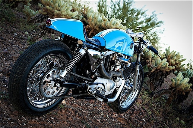 "HARLEY DAVISON IRONHEAD '85 ""GRABBER BLUE CAFE"" by DP CUSTOM MOTORCYCLES"