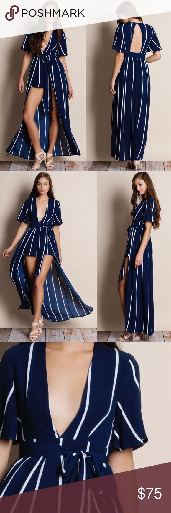 Homage Striped Maxi Romper Dress Striped maxi romper. Available in navy and white. This listing is for the NAVY. Brand new. Junior sizing. Bare Anthology Dresses Maxi