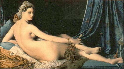 Ingres, Auguste Domingue (1780-1867) - 1814 The Grand Odalisque (Louvre, Paris), for more of Jacques louis David oil paintings, please visit http://www.painting-in-oil.com/artworks-David-Jacques-louis.html