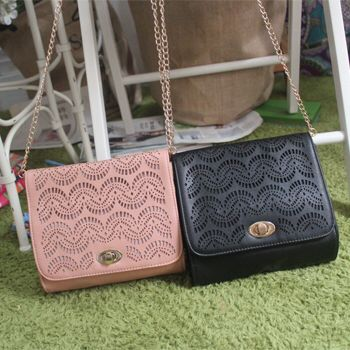 HOT!!!! 2015 New Style Women Messenger Bags Lady Hollow Out Chain and PU Cross Body Bag Free shipping