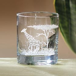 Old Fashioned Etched Safari Glass - Giraffe