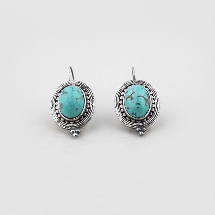 #miglio E2736 #Turquoise semi-precious drop #earrings with a beaded #burnished #silver edge - www.miglio.com