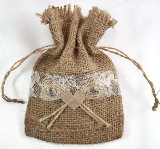 Set of 12 Burlap Lace Favor Bags    3 1/4 inches wide  1 1/2 inches diameter, opening approximately    This natural burlap bag with lace trim will
