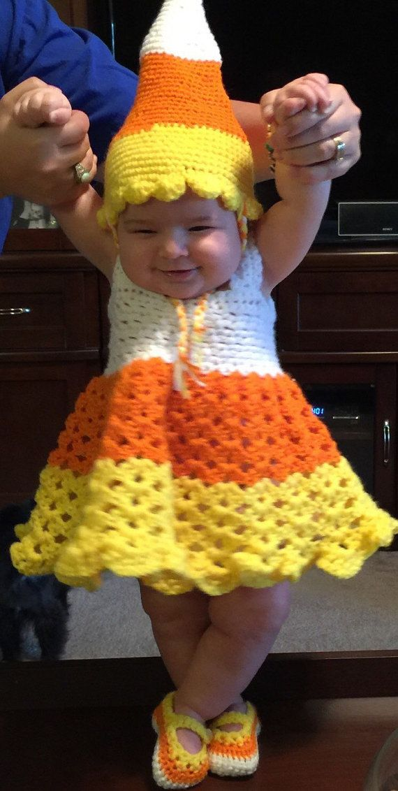 monsters inc crochet crochet baby candy corn costume by annabellasbabyshop on etsy - Monsters Inc Baby Halloween Costumes