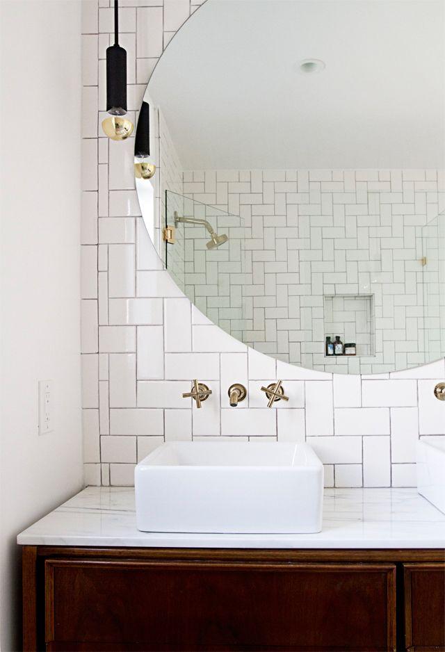 bathroom renovation // vintage credenza vanity, round mirror // smitten studio