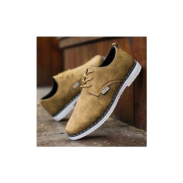 Casual Business Shoes Lace Up Round Toe Oxfords for Men ($17) ❤ liked on Polyvore featuring men's fashion, men's shoes, brown, shoes men's shoes flats, mens lace up shoes, mens oxford shoes, mens shoes, mens summer shoes and mens brown shoes