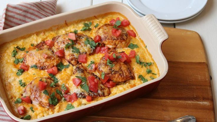 This easy, cheesy chicken casserole packed with creamy queso rice, green chiles and taco-seasoned chicken breasts will be an instant hit at the dinner table—even the picky eaters will love it!