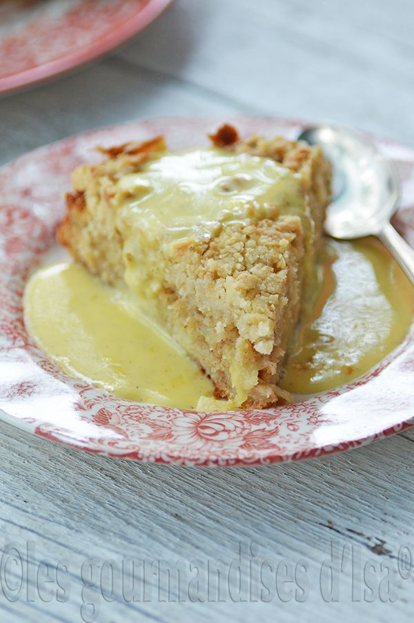 gâteau irlandais aux pommes, crème anglaise, vanille, cannelle, saint  patrick, pommes