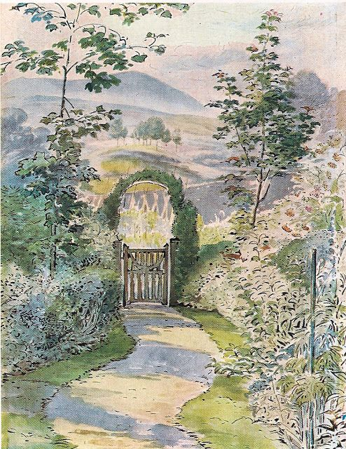 Depiction by Beatrix Potter of her lovely, traditional 17th Century cottage garden at Hilltop House.  Near Sawrey, Ambleside LA22 0LF, United Kingdom.