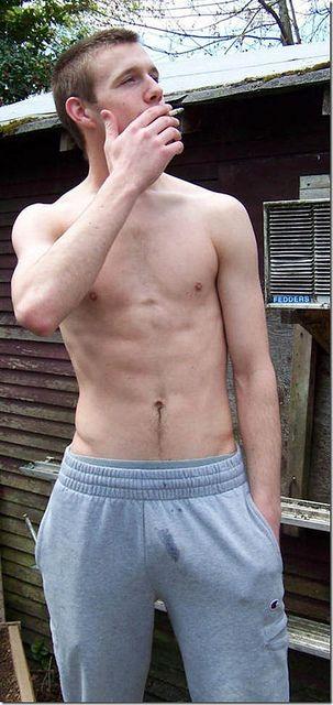 lad smoking cigarette naked cock