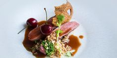 Agnar Sverrisson serves this perfectly cooked sous vide duck breast recipe with crispy duck skin, bulgur wheat and celeriac choucroute.